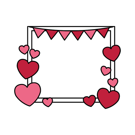 frame garland love hearts valentine day vector illustration  イラスト・ベクター素材