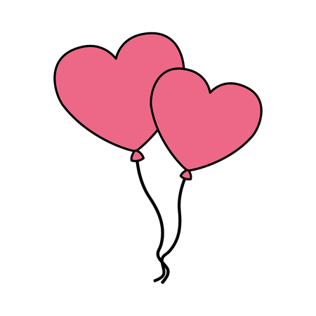 balloons shaped hearts valentine day vector illustration