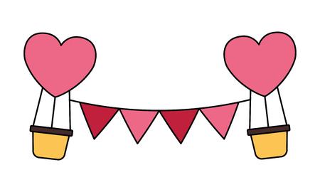 hot air balloons garland valentine day vector illustration Stock Vector - 114241106