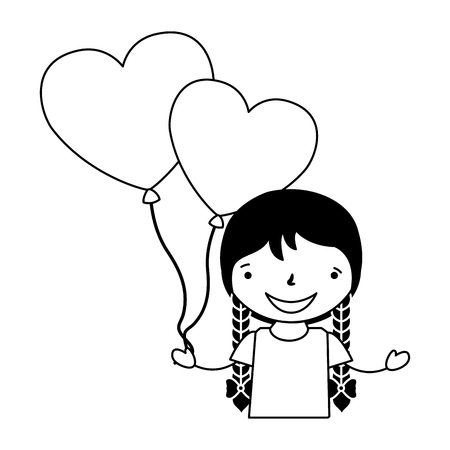 girl with balloons hearts valentine day vector illustration
