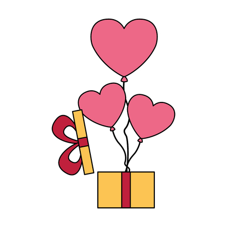 gift with balloons hearts valentine day vector illustration Stock Vector - 114241153