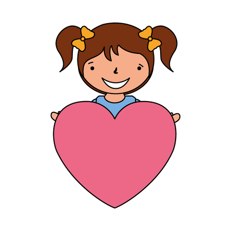 happy girl with heart love valentine day vector illustration