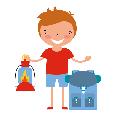 boy with lantern and backpack vacation camping vector illustration Banque d'images - 114241165