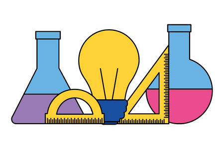 chemistry flask bulb ruler back to school vector illustration