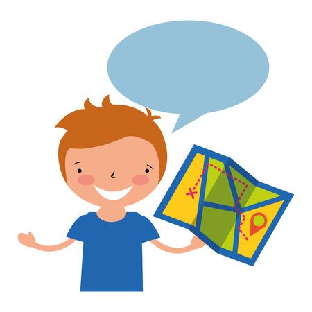 boy holding map vacation camping vector illustration Ilustração Vetorial