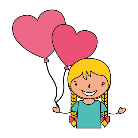 girl with balloons hearts valentine day vector illustration Stock Vector - 114241239