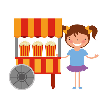 happy girl with food booth carnival vector illustration Vetores
