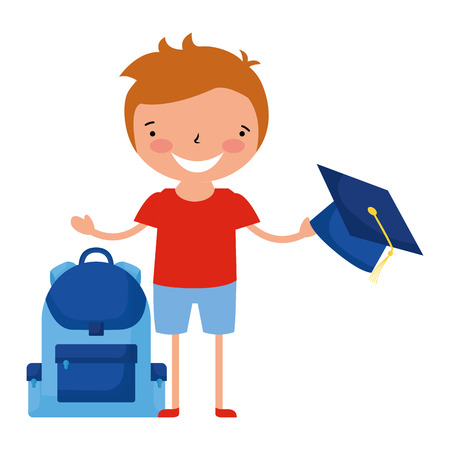 boy with graduation hat and bag back to school vector illustration Stock Illustratie