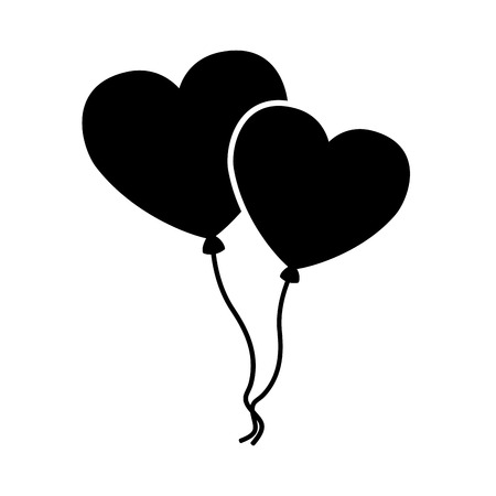 balloons shaped hearts valentine day vector illustration