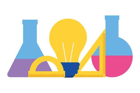 chemistry flask bulb ruler back to school vector illustration