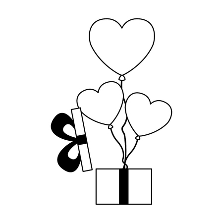 gift with balloons hearts valentine day vector illustration vector illustration Illustration