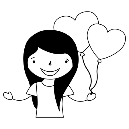 girl with balloons hearts valentine day vector illustration vector illustration