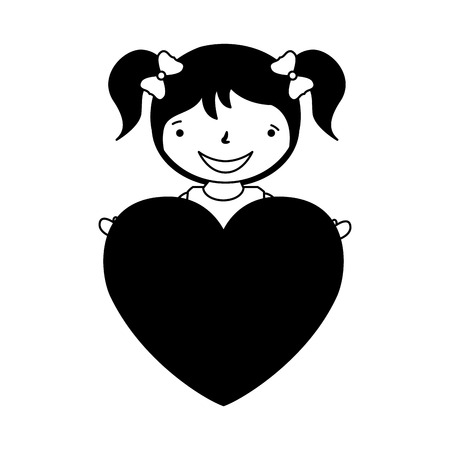 happy girl with heart love valentine day vector illustration vector illustration