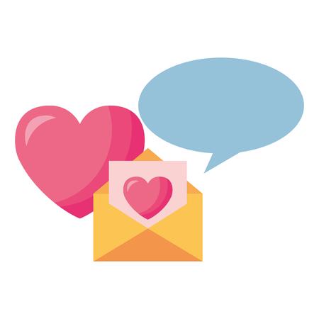 message heart speech bubble valentine day vector illustration Illustration