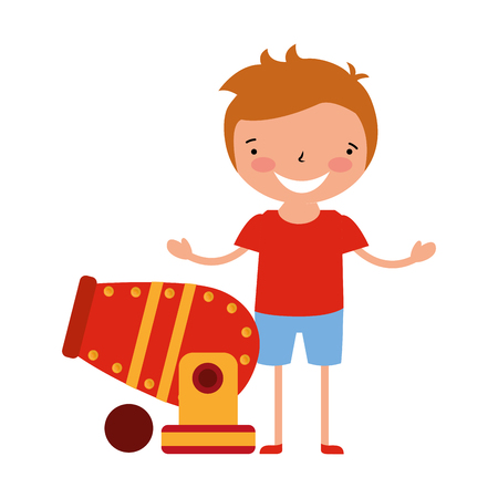 happy boy with cannon circus carnival  vector illustration