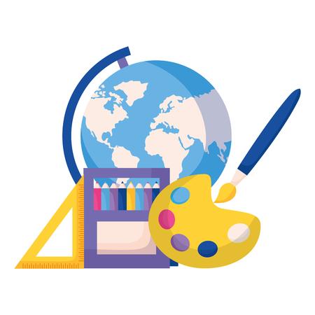 map pencils brush artistic ruler back to school vector illustration Illustration