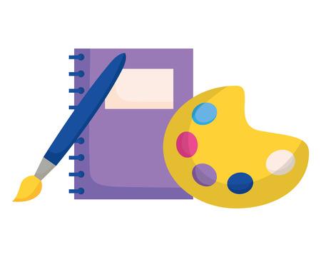 Couleur de la palette de l'ordinateur portable et brosse retour à l'illustration vectorielle de l'école