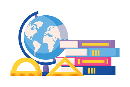 books map and protractor back to school vector illustration
