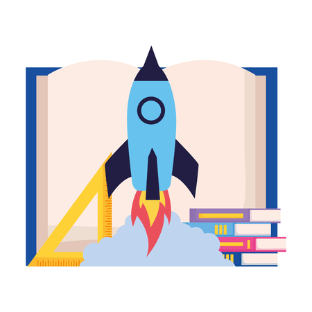 rocket books and ruler back to school vector illustration