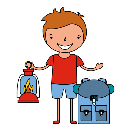boy with lantern and backpack vacation camping vector illustration Illustration