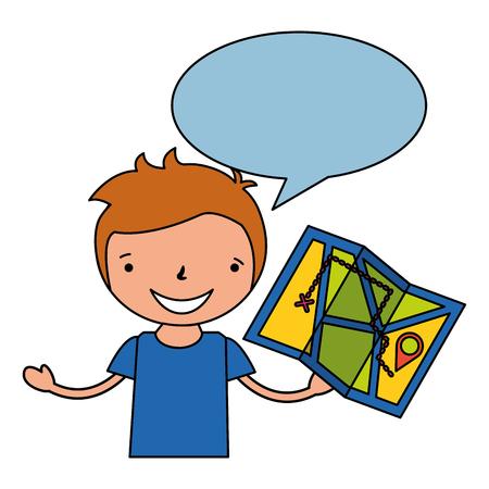 boy holding map vacation camping vector illustration Illustration