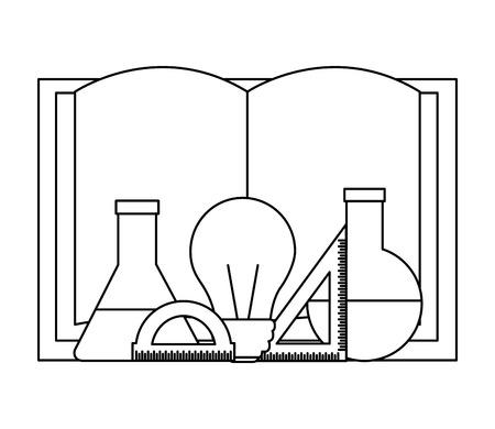 book test tube bulb ruler back to school vector illustration outline
