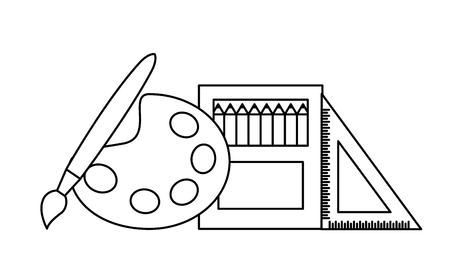 artistic palette brush color ruler back to school vector illustration outline