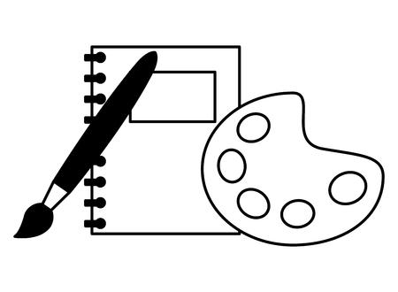 Couleur de la palette de l'ordinateur portable et brosse retour à l'école contours d'illustration vectorielle