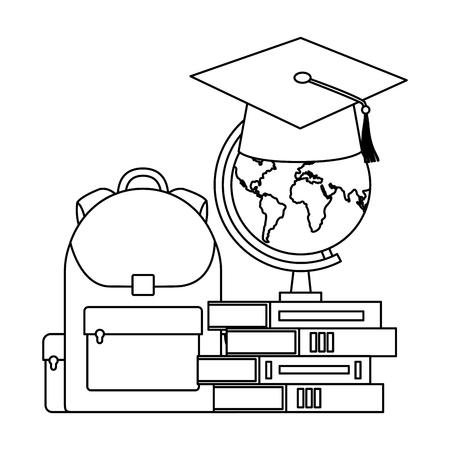 graduation hat map bag and books back to school vector illustration outline