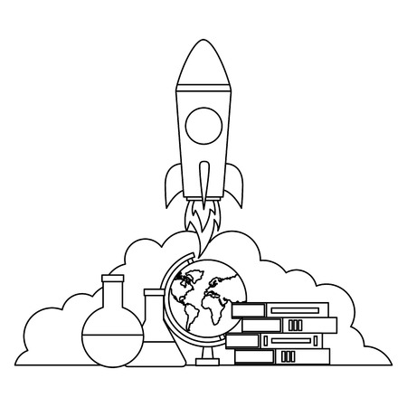 rocket books map and test tube back to school vector illustration outline Çizim
