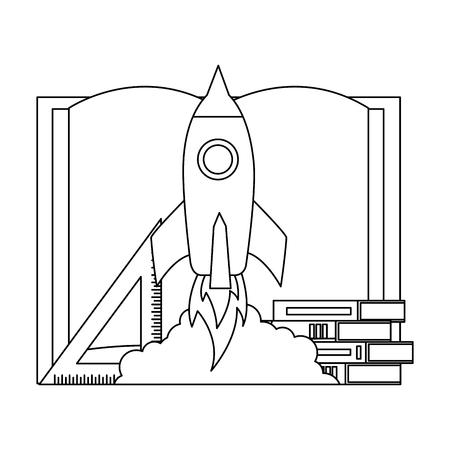 rocket books and ruler back to school vector illustration outline