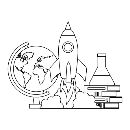 rocket books chemistry flask back to school vector illustration outline