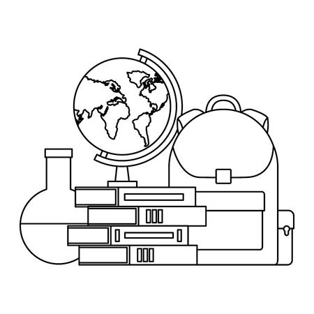 backpack books map and flask laboratory back to school vector illustration outline Illustration