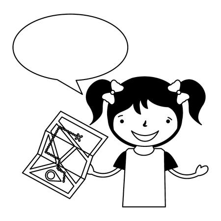 girl with map speech bubble vacation camping vector illustration