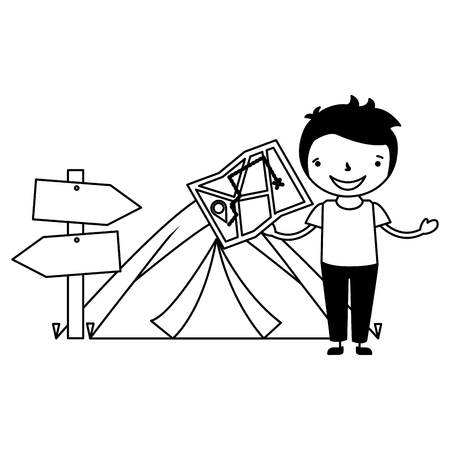 boy with map and tent vacation camping vector illustration 일러스트