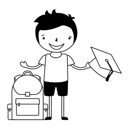 boy with graduation hat and bag back to school vector illustration 일러스트