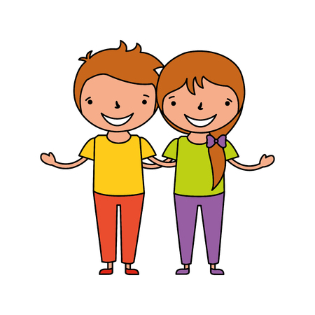 happy girl and boy holding each other vector illustration Illustration
