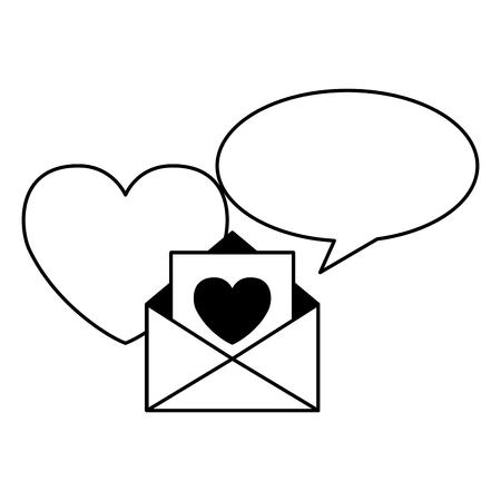 message heart speech bubble valentine day vector illustration Stock Vector - 114241460