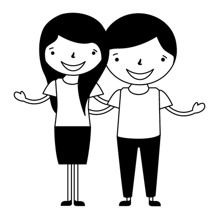happy couple holding each other characters vector illustration 向量圖像