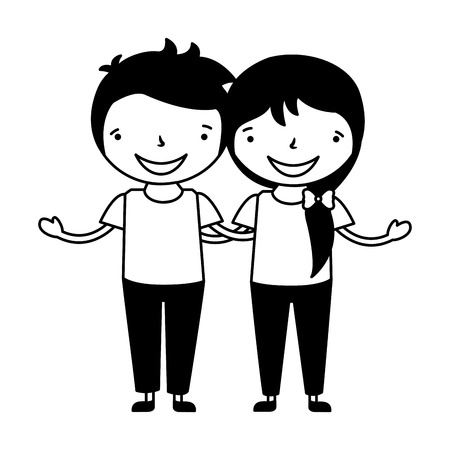 happy girl and boy holding each other vector illustration 向量圖像