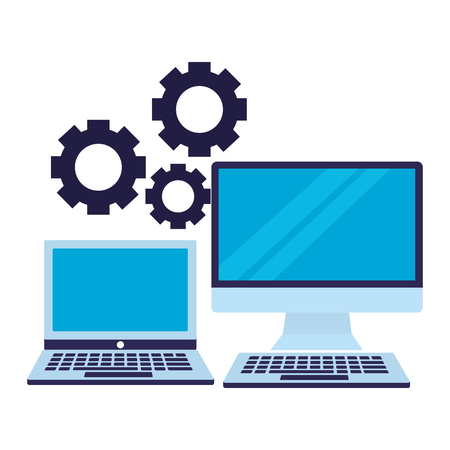 business laptop computer and gears vector illustration Ilustracja