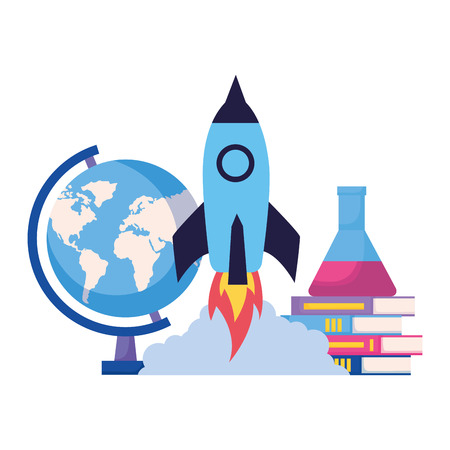 rocket books chemistry flask back to school vector illustration Иллюстрация