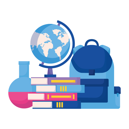 backpack books map and flask laboratory back to school vector illustration
