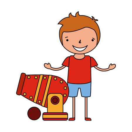glücklicher Junge mit Kanonenzirkuskarnevalsvektorillustration Vektorgrafik