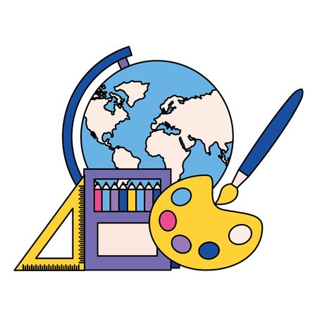 map pencils brush artistic ruler back to school vector illustration Ilustrace