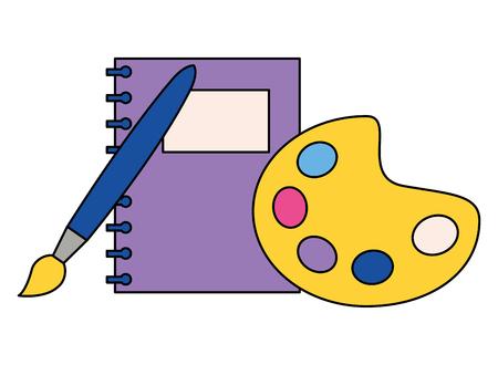 notebook palet kleur en penseel terug naar school vectorillustratie Vector Illustratie
