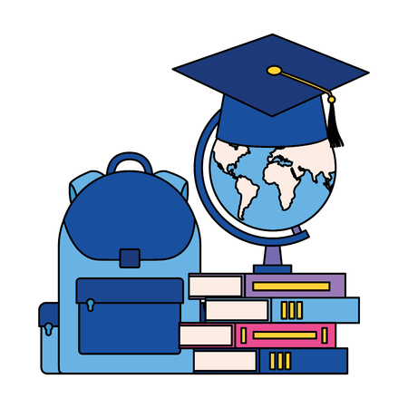 graduation hat map bag and books back to school vector illustration Banco de Imagens - 114242046