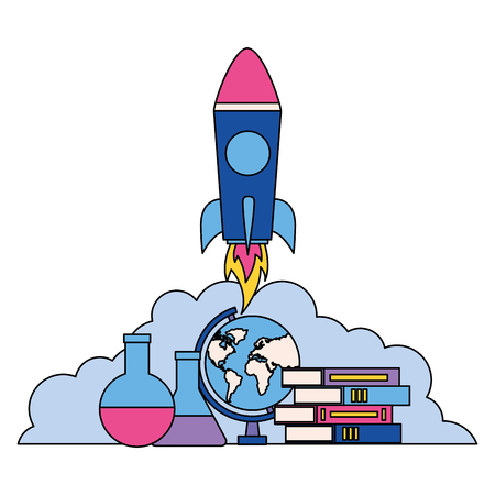 rocket books map and test tube back to school vector illustration