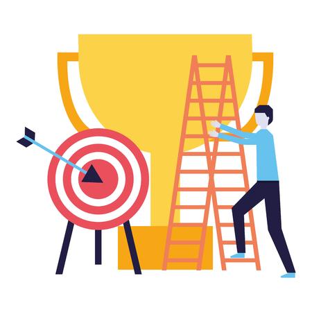 business man climb staris and target vector illustration