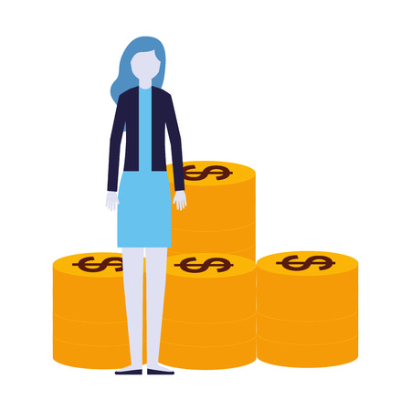 business woman coins money banking vector illustration